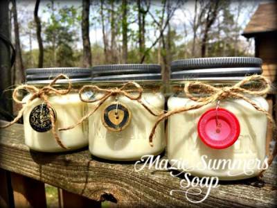 Soy Candles with Vintage Button Charms